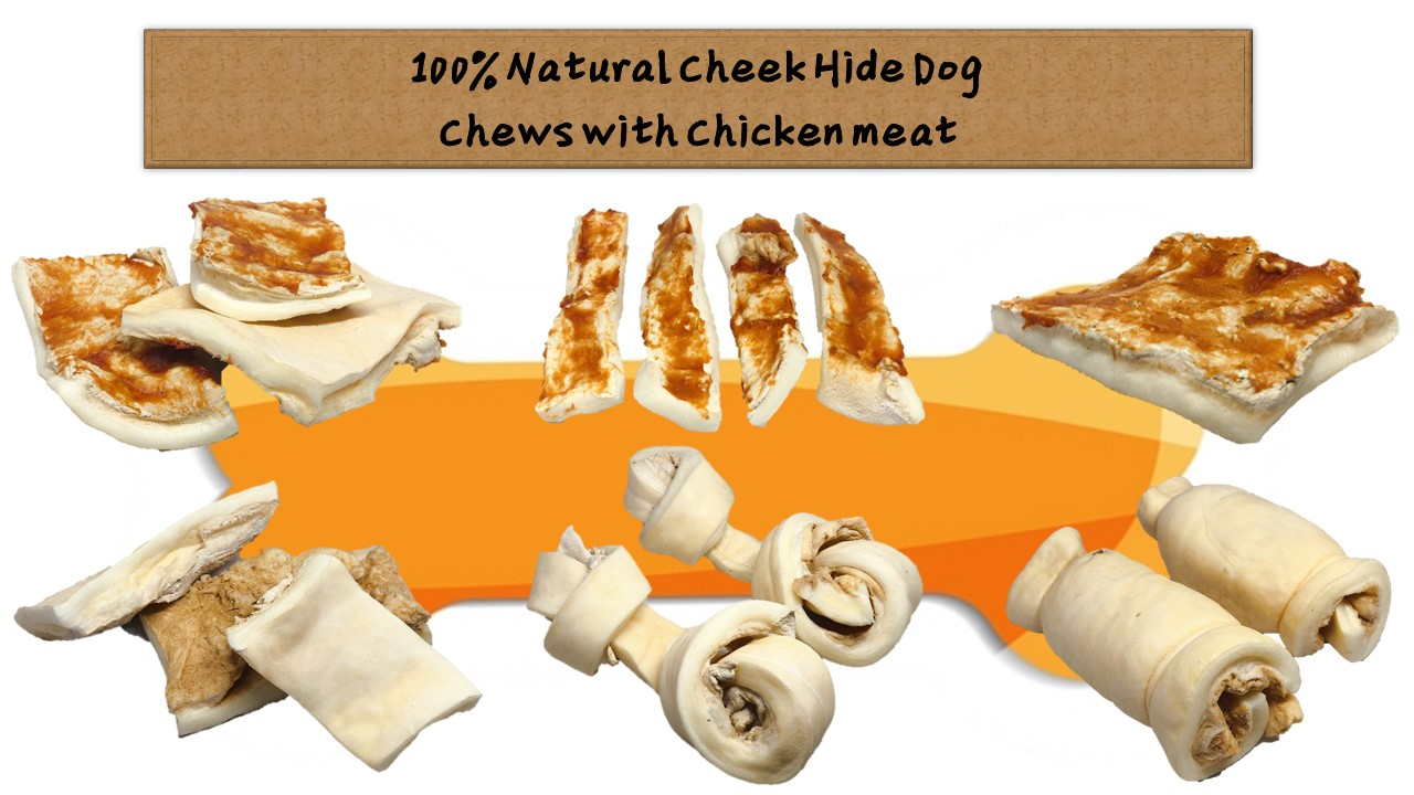 100% Natural Cheek Hide Dog  Chews with Chicken meat